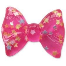 35mm HOT PINK Clear Star Flatback Bow Cabochon